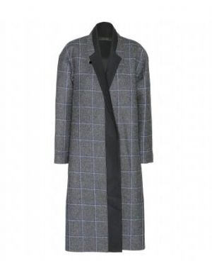 Victoria Beckham - Grey And Blue Checked Wool Coat.jpg