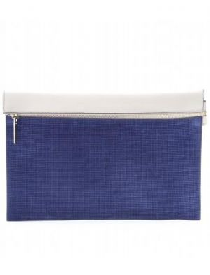 Victoria Beckham - Light-grey And Navy Leather And Suede Large Zip Clutch.jpg
