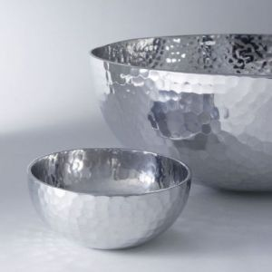 Gifts for men - Hammered Aluminum Large Bowl Silver.jpg