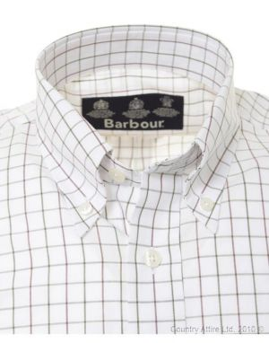 Barbour Mens Popline Tattersall Shirt - Olive Brown.jpg
