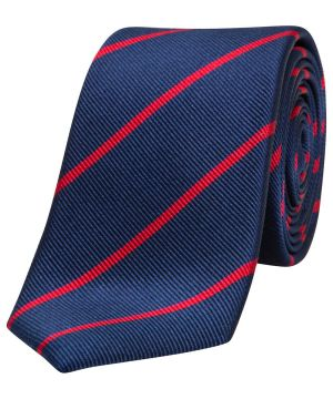 Gifts for men - Mj Bale Silk Coppi Stripe Navy Red Tie.jpg