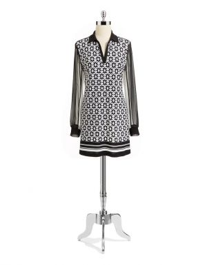 STYLE AND CO Plus Size Collared Neck Tunic black white.jpg