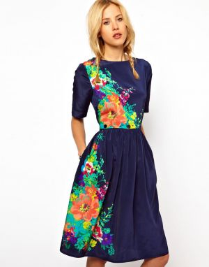 ASOS Midi Dress In Floral Print With Buttoned Waist.jpg