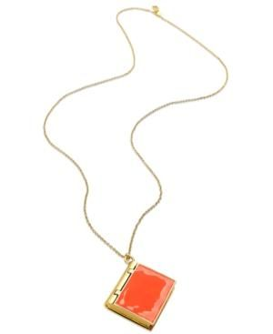 kate spade Necklace Gold-Tone Neon Book Locket Pendant Necklace.jpg