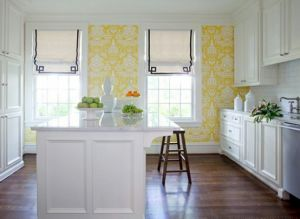Yellow decor pictures - Kitchen with yellow wallpaper.jpg