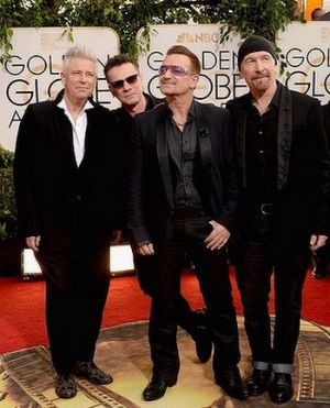 2014 Golden Globes - Red Carpet - Adam Clayton Larry Mullen Jr Bono and The Edge of U2