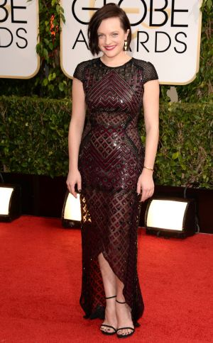 2014 Golden Globes - Red Carpet - Elisabeth Moss in J Mendel and Jennifer Meyer