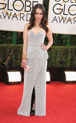 2014 Golden Globes - Red Carpet - Emilia Clarke in Proenza Schouler and Sidney Garber
