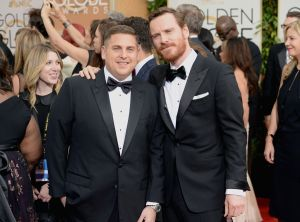 2014 Golden Globes - Red Carpet - Jonah Hill and Michael Fassbender