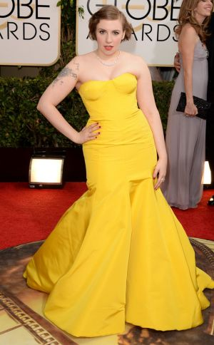 2014 Golden Globes - Red Carpet - Lena Dunham in Zac Posen