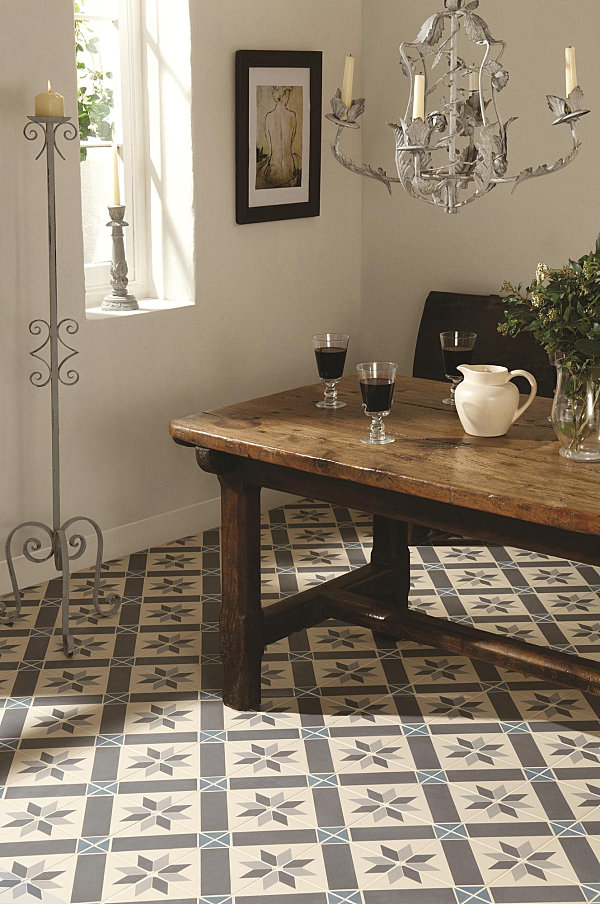 Stylish home floors for Dining room tile floor designs