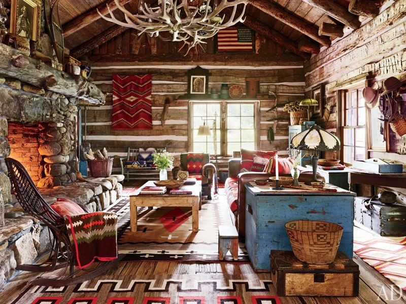 Famous folk at home ralph lauren in manhattan bedford - Lodge living room decorating ideas ...