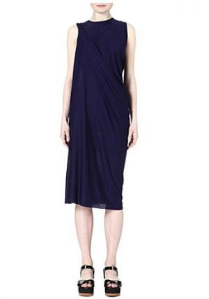 Acne draped blue jersey dress.JPG