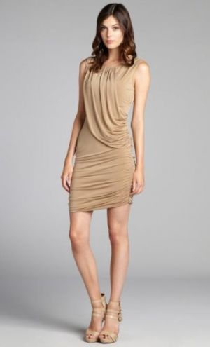 Andrew Marc camel matte jersey grecian sleeveless dress.jpg