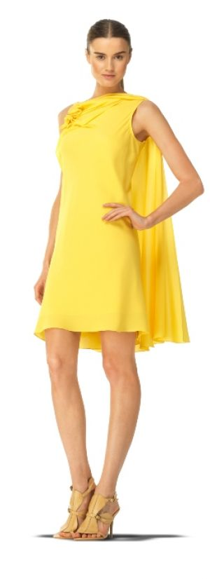 Maxstudio Grecian-inspired yellow stretch silk georgette side cape dress.jpg