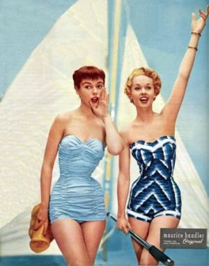 retro swimwear - www.myLusciousLife.com - Tippi Hedren on right 1954.jpg