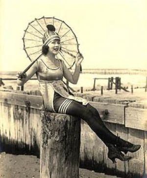 retro swimwear - www.myLusciousLife.com - bathing suit and umbrella on the pier.jpg