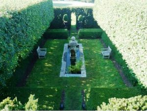 Photo by Oscar de la Renta of his gardens in Kent Connecticut - formal garden.jpg