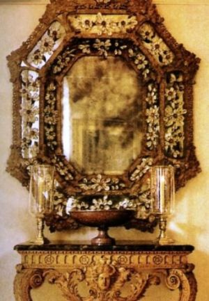 17th-Century-Mirror-encrusted-with-rock-crystal-fleurons - Oscar de la Renta NY home.jpg