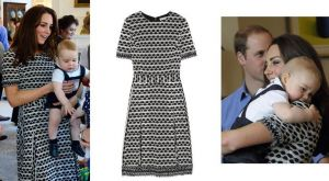 Duchess of Cambridge black and white geometric print dress by Tory Burch with Prince George.jpg