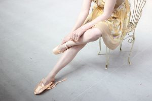 Pastel colors - ballerina in yellow frock on chair - mylusciouslife.jpg