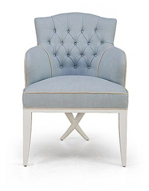Pastels in home decor - myLusciousLife.com - Armchair in pale blue with tufted buttons.jpg