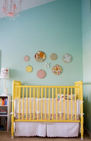 Pastels in home decor - myLusciousLife.com - Yellow Jenny Lind Spindle Crib via Apartment Therapy.jpg