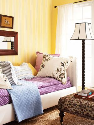 Yellow and purple lounge area - pastel colours - mylusciouslife.com.jpg