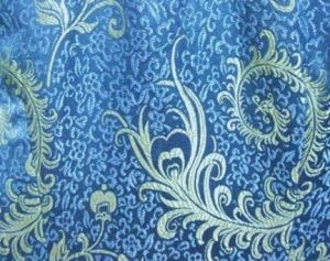 Blue Chinese silk brocade fabric.JPG