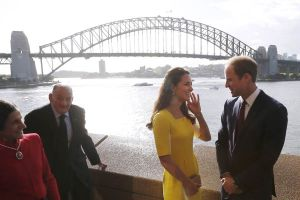 Catherine in Sydney wearing a yellow Roksanda Ilincic dress and LK Bennett heels.jpg