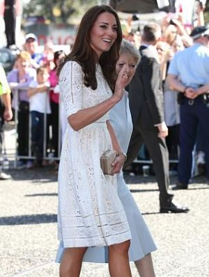 Catherine Duchess of Cambridge arrives at the Sydney Royal Easter in the white Roamer dress by Zimmerman.jpg