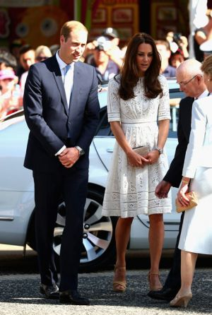 Prince William and Kate Middleton in a white Roamer Day Dress by Australian brand Zimmermann.jpg
