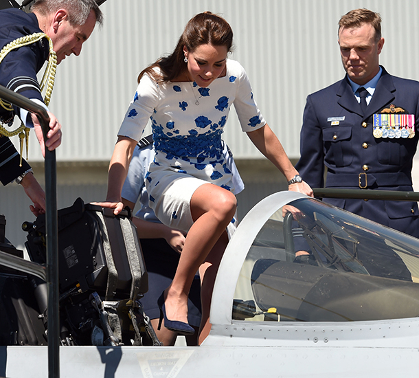 Royal Tour Kate Middleton Wearing An Lk Bennett Blue And