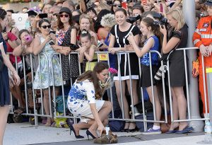 Kate Middleton in Brisbane wearing an LK Bennett blue and white Lasa Poppy print dress.jpg
