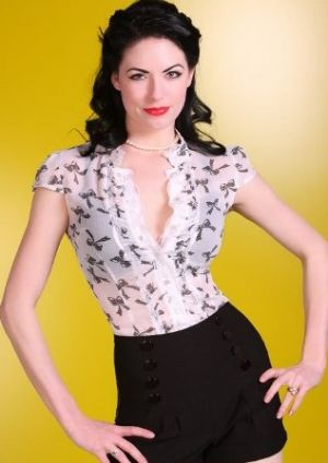 50s style Retro Black and White Bow Print Blouse from bluevelvetvintage.com.jpg