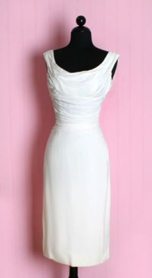 Images of black and white - 1950s Marilyn Style White Ruched Dress.jpg