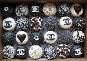 Images of black and white - Cupcakes including Chanel toppings.jpg