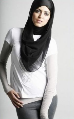 Pictures of black and white - Black chiffon scarf snood from maysaa.com.jpg