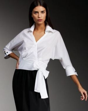 Robert Rodriguez Black Label - Lily Tie-Waist Blouse in white.JPG