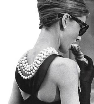 luscious pearl necklace earrings bracelet - Audrey Hepburn with pearls.jpg