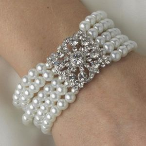 luscious pearl necklace earrings bracelet - white_choker_bracelet.jpg
