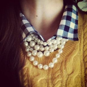 yellow-jumper-gingham shirt-pearls - mylusciouslife.com.jpg