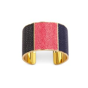 Minerva cuff bracelet in black coral and navy stingray from Aspinal of London.jpg