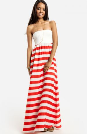 Strapless Striped Maxi Dress in Red.jpg