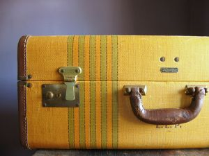 Vintage Hard-Sided Suitcase .. Buttery Yellow with Sage Green Stripes.jpg