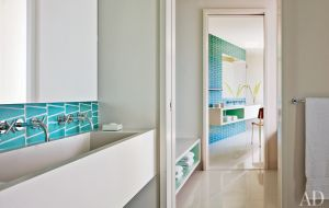 A geometric Hamptons house by Leroy Street Studio and decorator Thad Hayes Design-bathroom.jpg