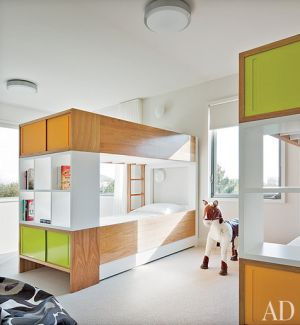 A geometric Hamptons house by Leroy Street Studio and decorator Thad Hayes Design-bunk-room.jpg