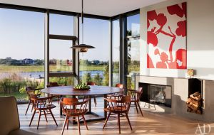 A geometric Hamptons house by Leroy Street Studio and decorator Thad Hayes Design-dining-area.jpg