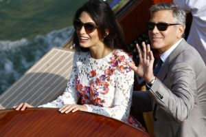 George Clooney and Amal Alamuddin - floral Giambattista Valli Couture dress.jpg