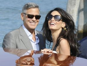 George Clooney and Amal Alamuddin - wedding Venice - black and white dress - September 2014.jpg